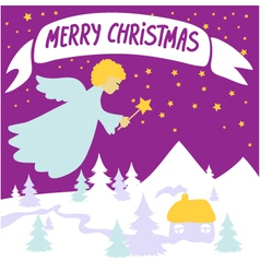 Christmas background with angel vector image vector image