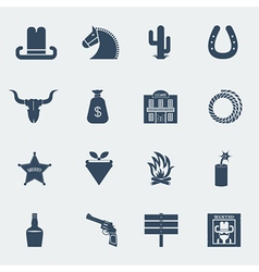 Cowboy icons wild west pictograms isolated vector image