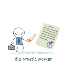 diplomatic worker writes the document vector image vector image