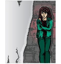Girl in distress vector
