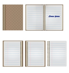 Set of Blank Realistic Spiral Notepad Notebook vector image
