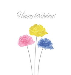 Watercolor Rose Wreath With Happy Birthday vector image