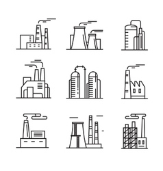 flat factory icons vector image vector image