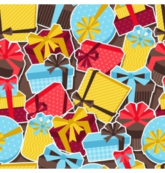 Seamless celebration pattern with sticker gift vector image vector image