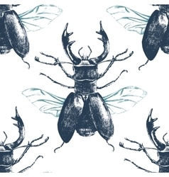seamless pattern with deer beetle vector image vector image
