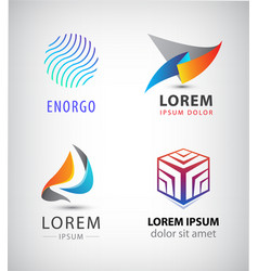 set of abstract 3d logos sphere cube vector image