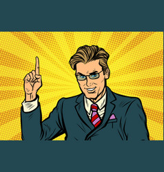 businessman pointing finger up vector image vector image