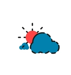 Color line icon for flat design Clouds and sun vector image