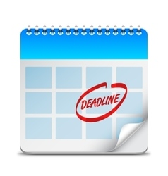 Deadline Word on Calendar vector image