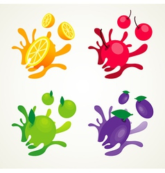 fruit splash set vector image vector image