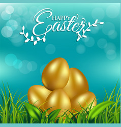 gold eggs on fresh spring grass for easter day vector image