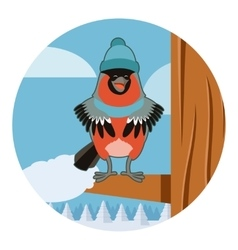 Happy Bullfinch with Hat on the winter background vector image