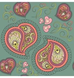 heart paisley seamless pattern vector image vector image