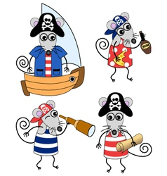 mouse pirates vector image