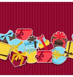 Seamless celebration pattern with sticker gift vector image