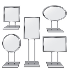 Set of Five Chrome Sign Holders vector image vector image