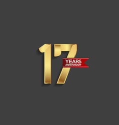 17 years anniversary simple design with golden vector