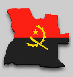 3d isometric map angola with national flag vector