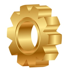 3d of golden cog wheel vector