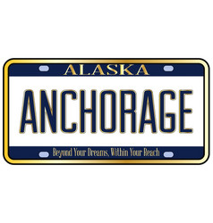 Alaska state license plate mockup with the city vector