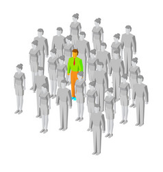 alone in the crowd one man among gray people vector image