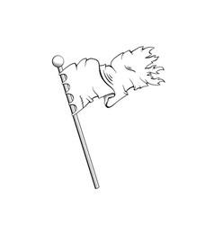 ancient flag black ink sketch vector image