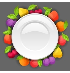 Background design with plate and stylized fresh vector
