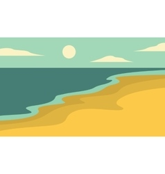 Beach landscape of silhouettes vector
