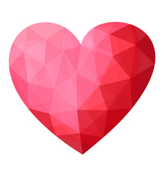 beautiful low poly icon with crystal pink heart vector image