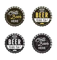 Beer emblems collection color and silhouette vector