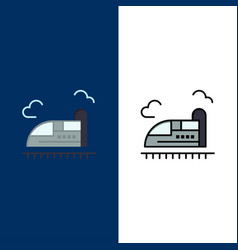 Bullet train high speed icons flat and line vector