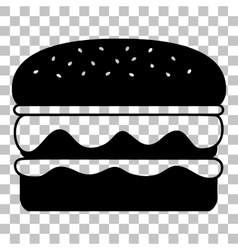 Burger simple sign Flat style black icon on vector image