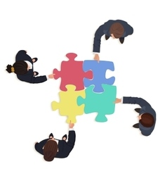 Business People team with jigsaw puzzle pieces vector