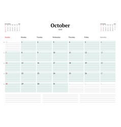calendar planner template for 2018 year october vector image