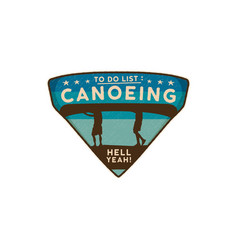 Canoeing logo emblem vintage hand drawn travel vector