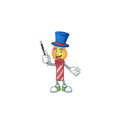 Cartoon character red stripes candle magician vector