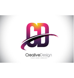 Cd c d purple letter logo with swoosh design vector