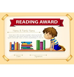 Certification template with boy and books vector image