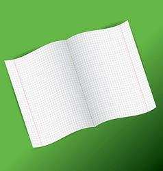 checkered notebook paper on green background vector image