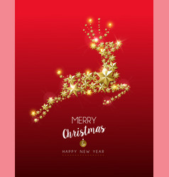 christmas and new year gold star reindeer card vector image
