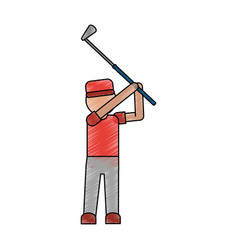 Color pencil cartoon faceless full body golfer man vector