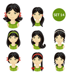 Cute little girls with dark hair and various hair vector