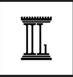 Dl logo monogram with pillar shape design template vector