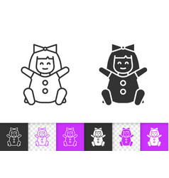 Doll simple black line kids toy icon vector