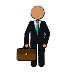Drawing character business man with suit portfolio vector