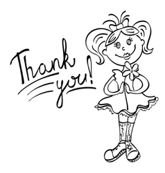 Drawing girl with flower says thank you vector