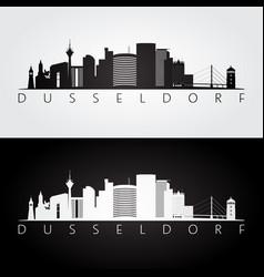 Dusseldorf skyline and landmarks silhouette vector