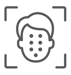 face id line icon face recognition vector image