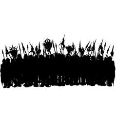 Fantasy medieval army silhouette vector