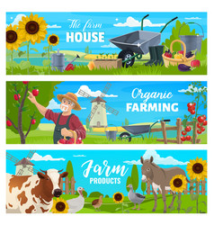 farmer with farm animals vegetables and tools vector image